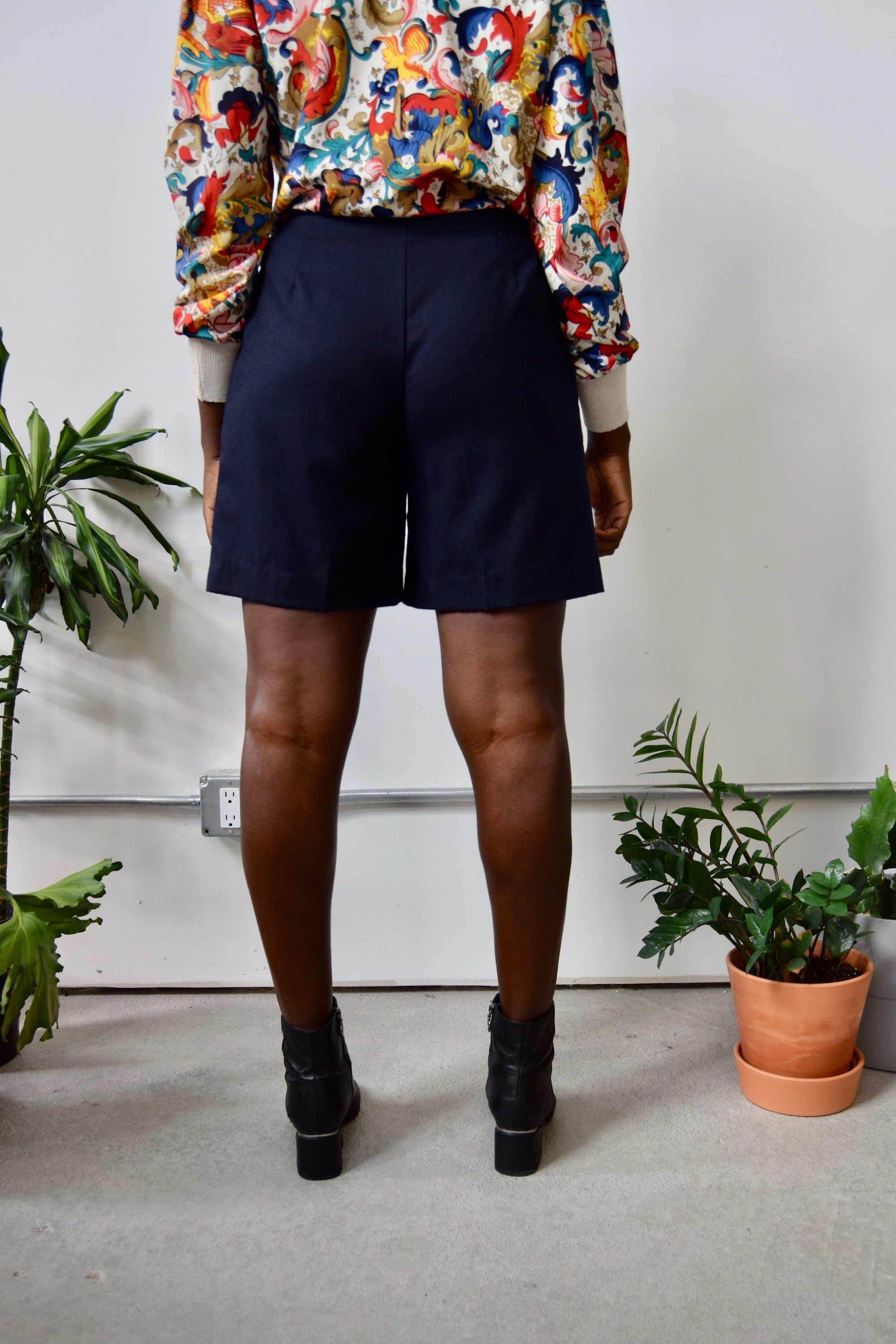 Navy Wool Trouser Shorts