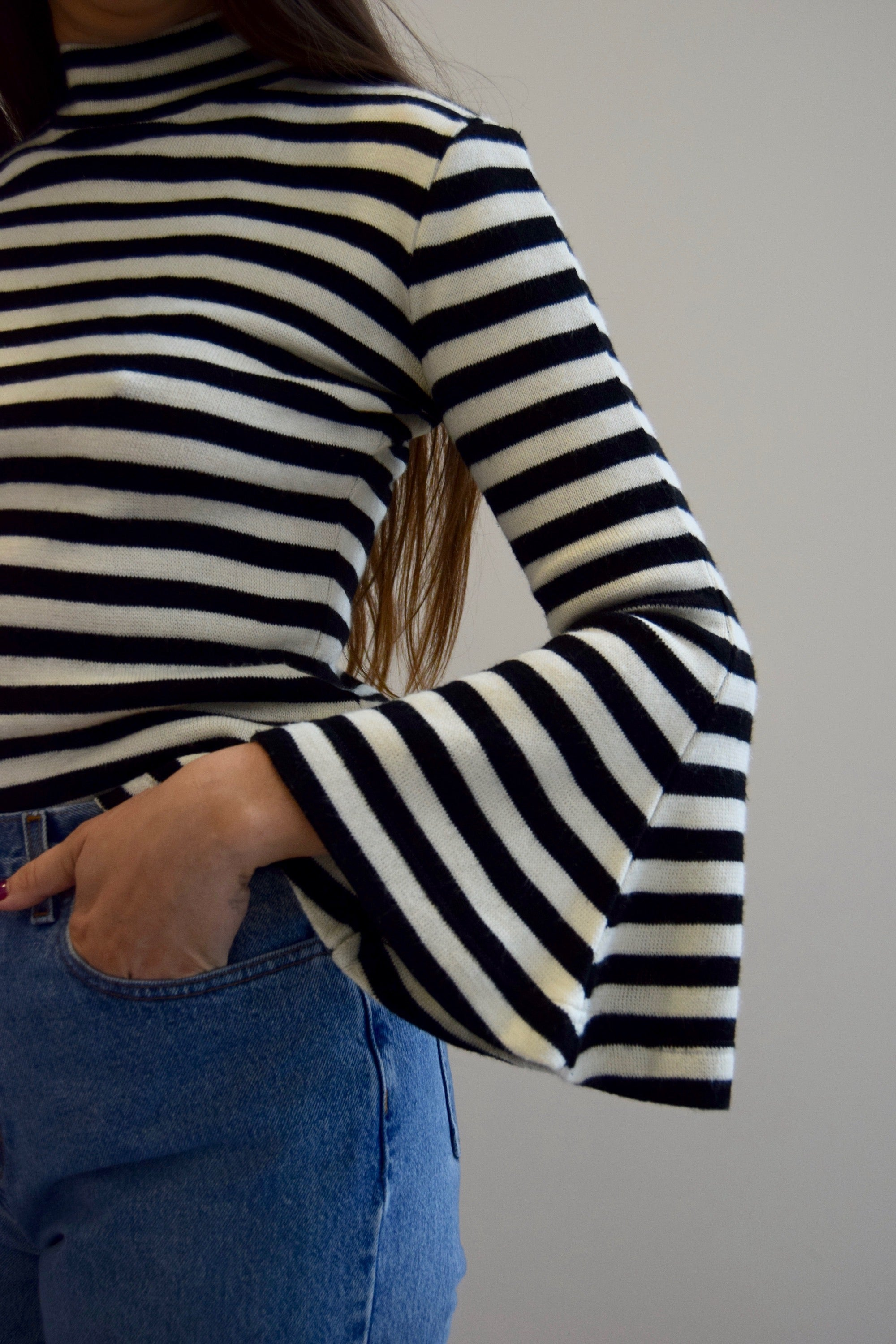 Parisian Striped Bell Sleeve Sweater
