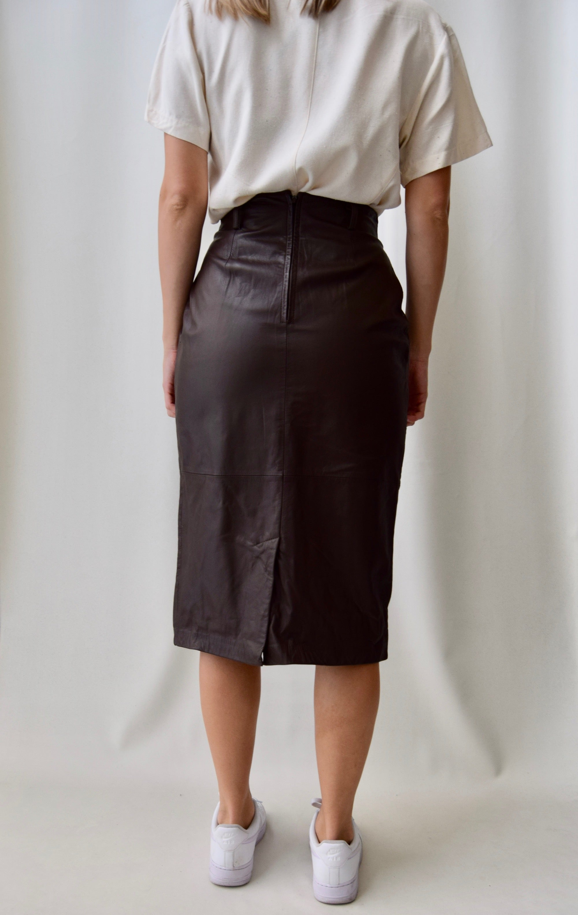 Eighties Chocolate Pleated Leather Midi Skirt