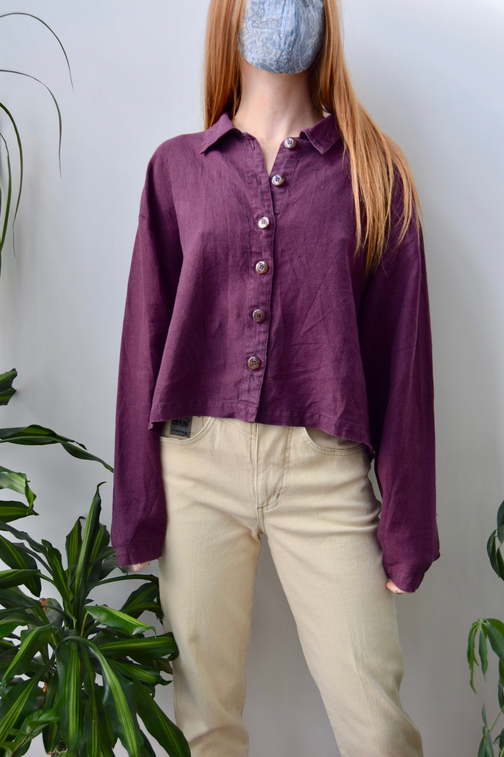 Boysenberry Cropped Linen Top