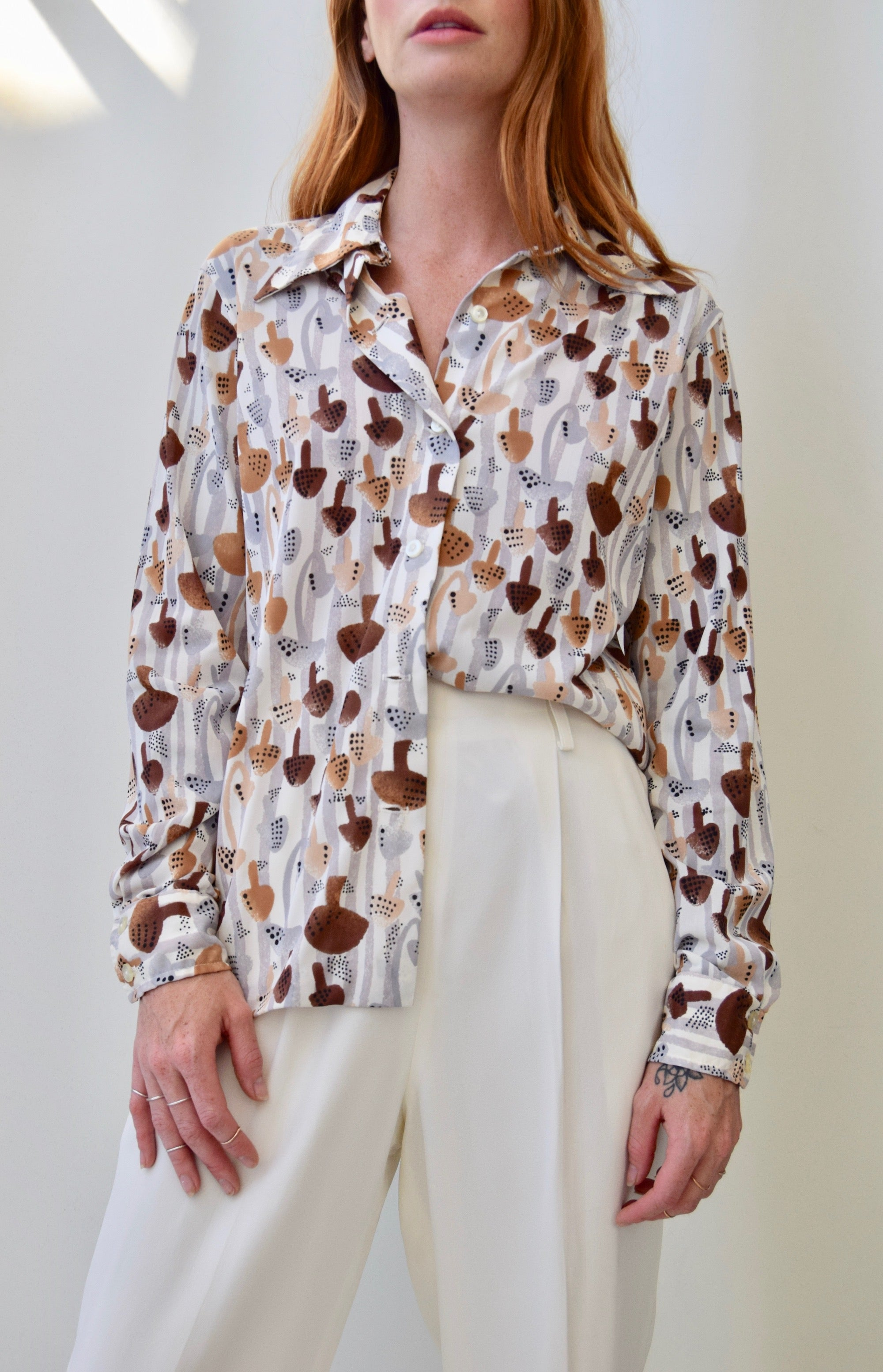 "Seventies ""PS I Love You"" Muted Mushroom Top"