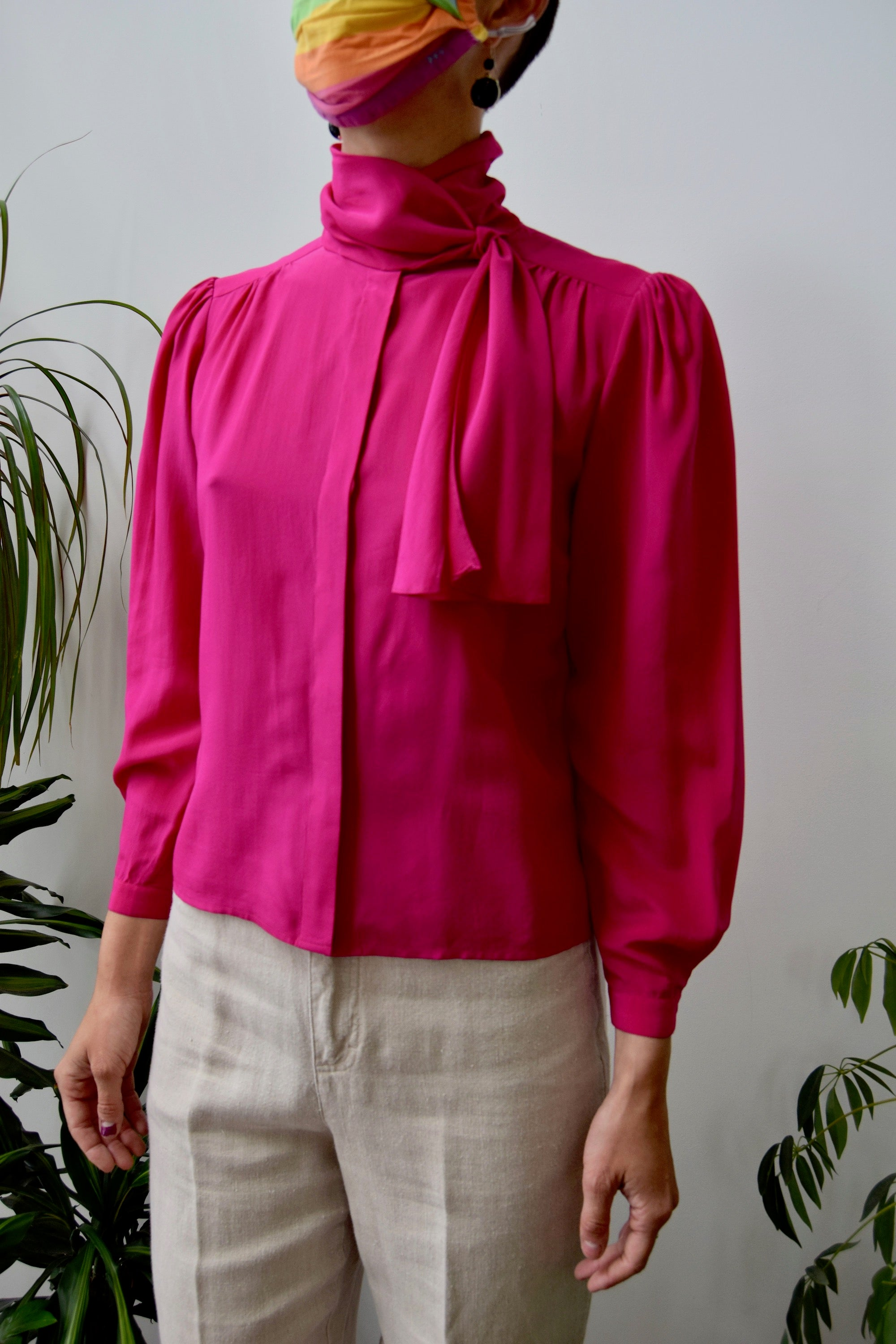 Magenta Silk Scarf Top
