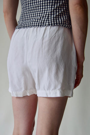 White Silk and Linen Dream Shorts FREE SHIPPING