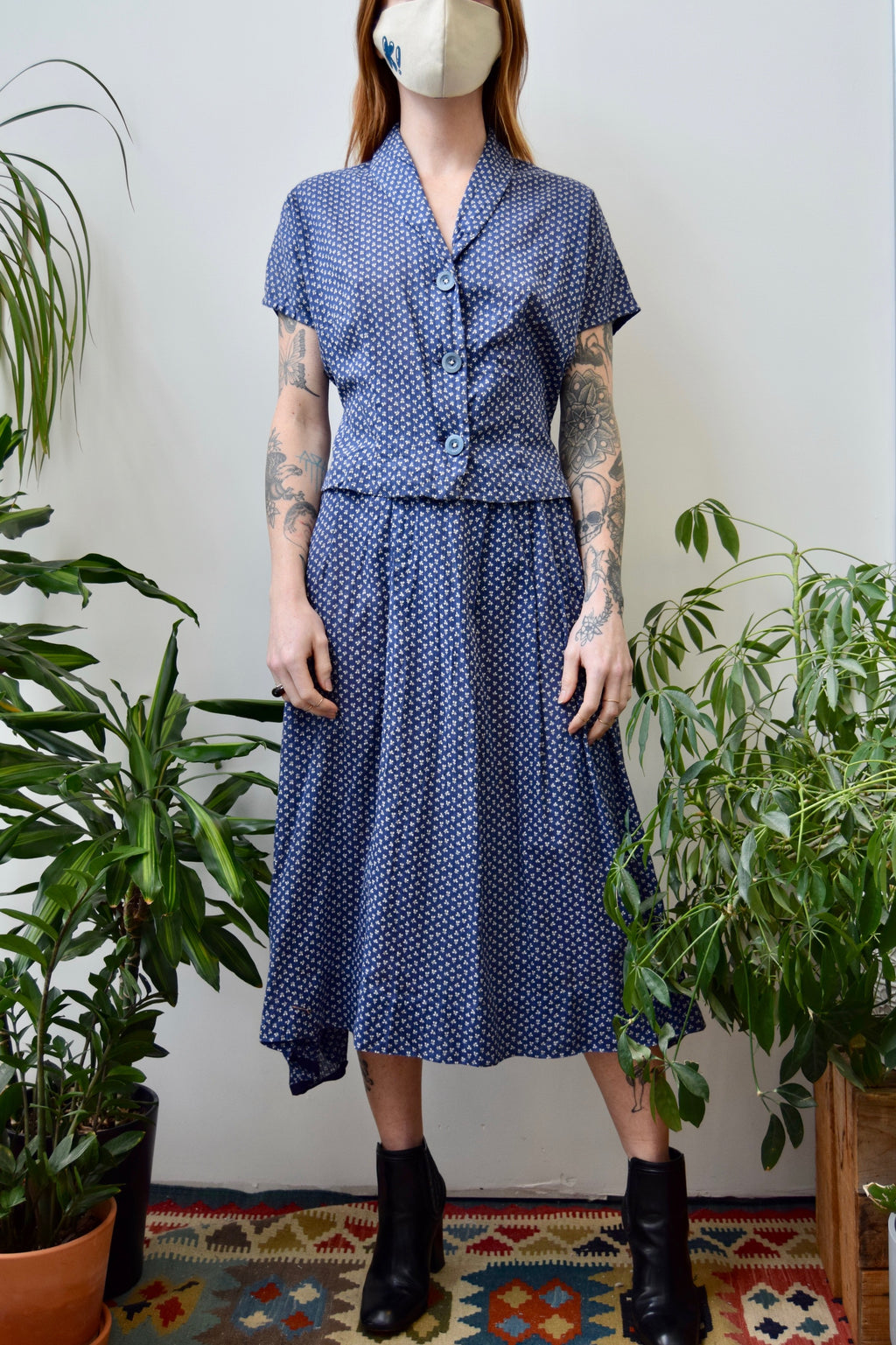 Forties Periwinkle Calico Two Piece Set