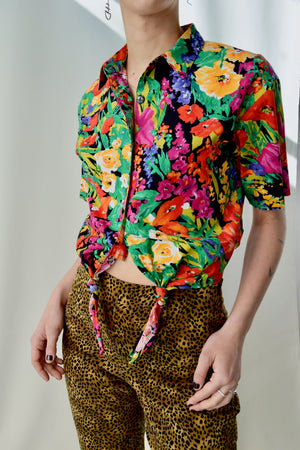 Rainbow California Flora Cotton Tie Crop Top FREE SHIPPING TO THE U.S.