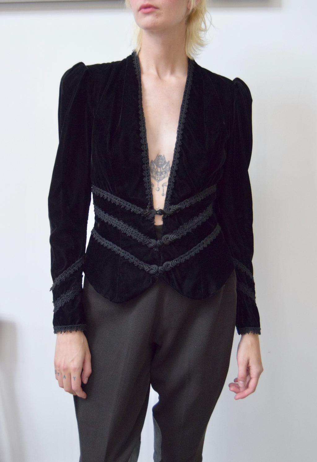 Eighties Black Velvet Renaissance Blazer