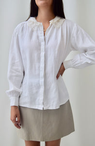 Lace Collar Linen Top