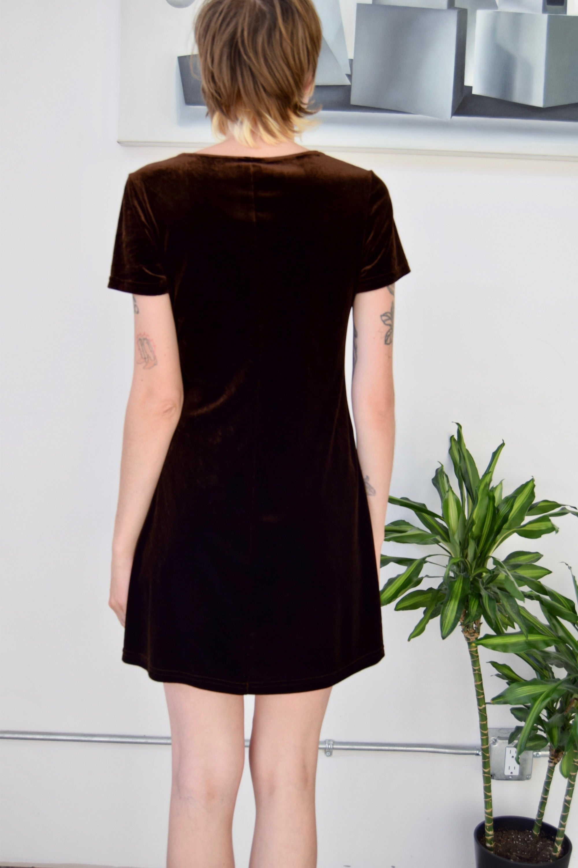 Nineties Chocolate Velvet Babydoll Dress