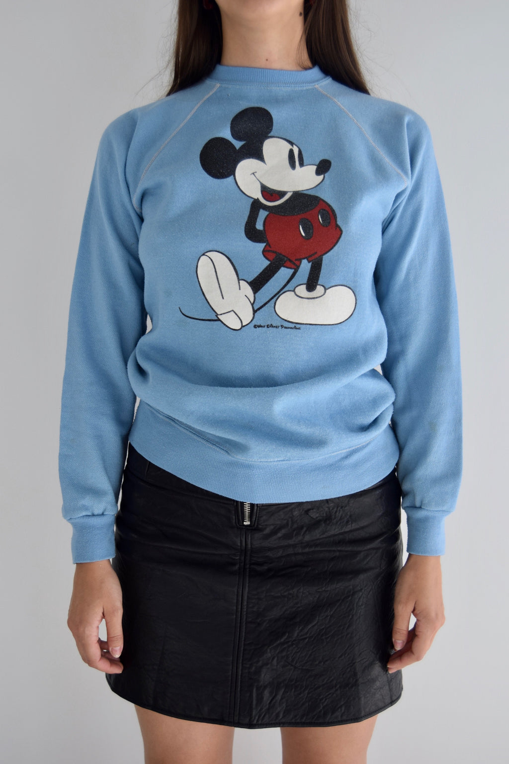Vintage Mickey Mouse Powder Blue Crew Neck Sweatshirt