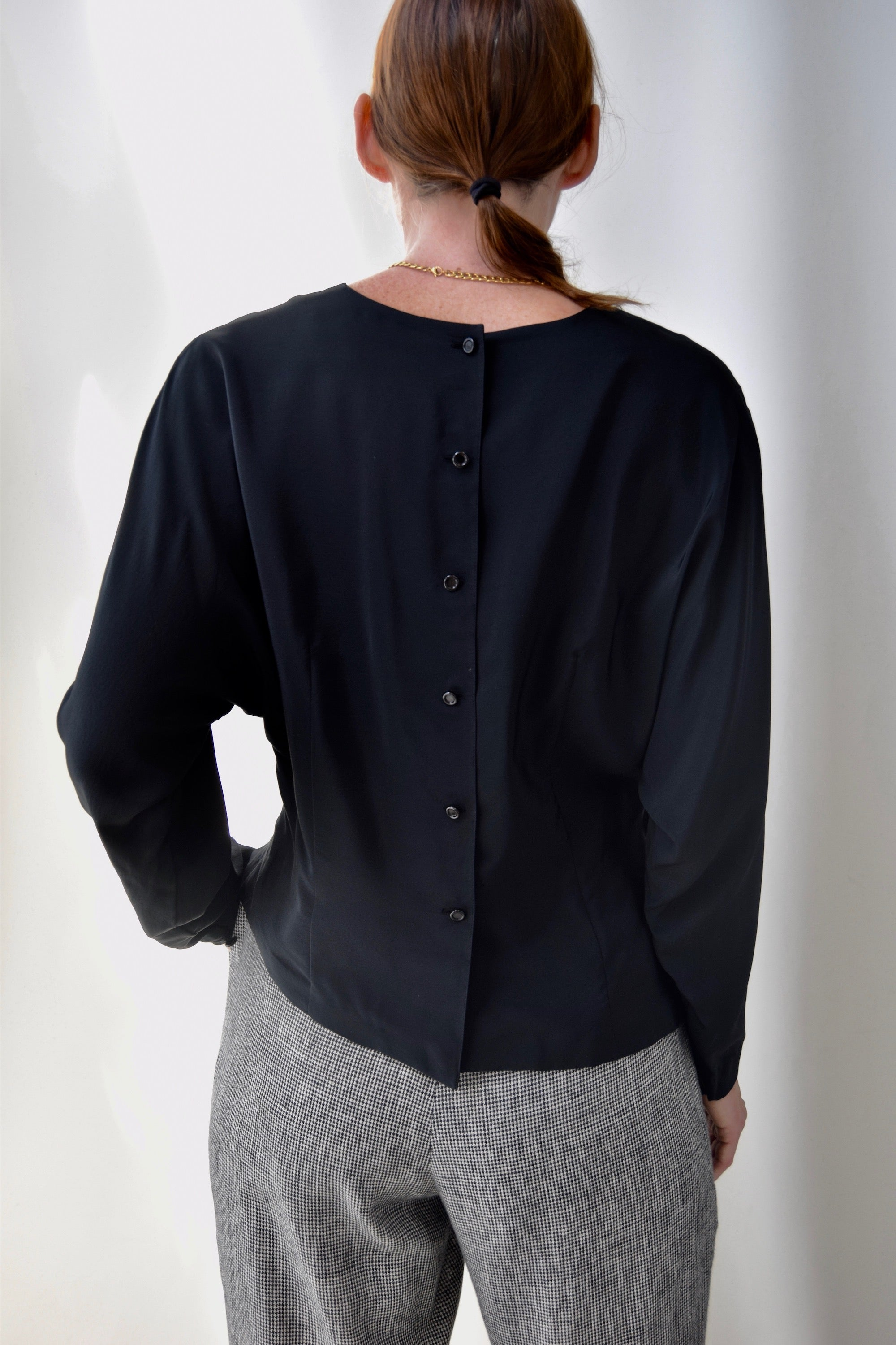 Black Silk Ruched Blouse
