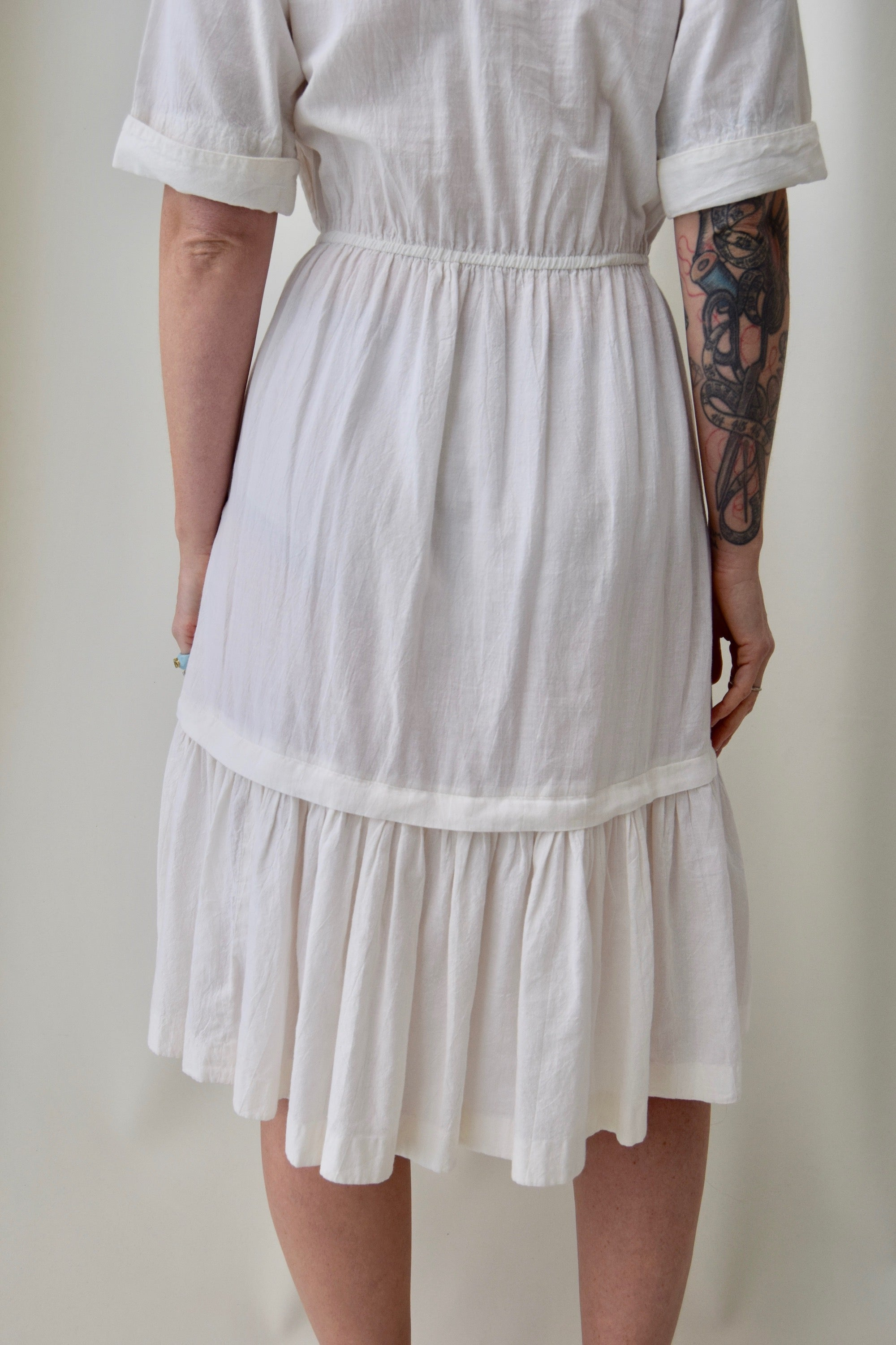 70's White Cotton Shirt Dress