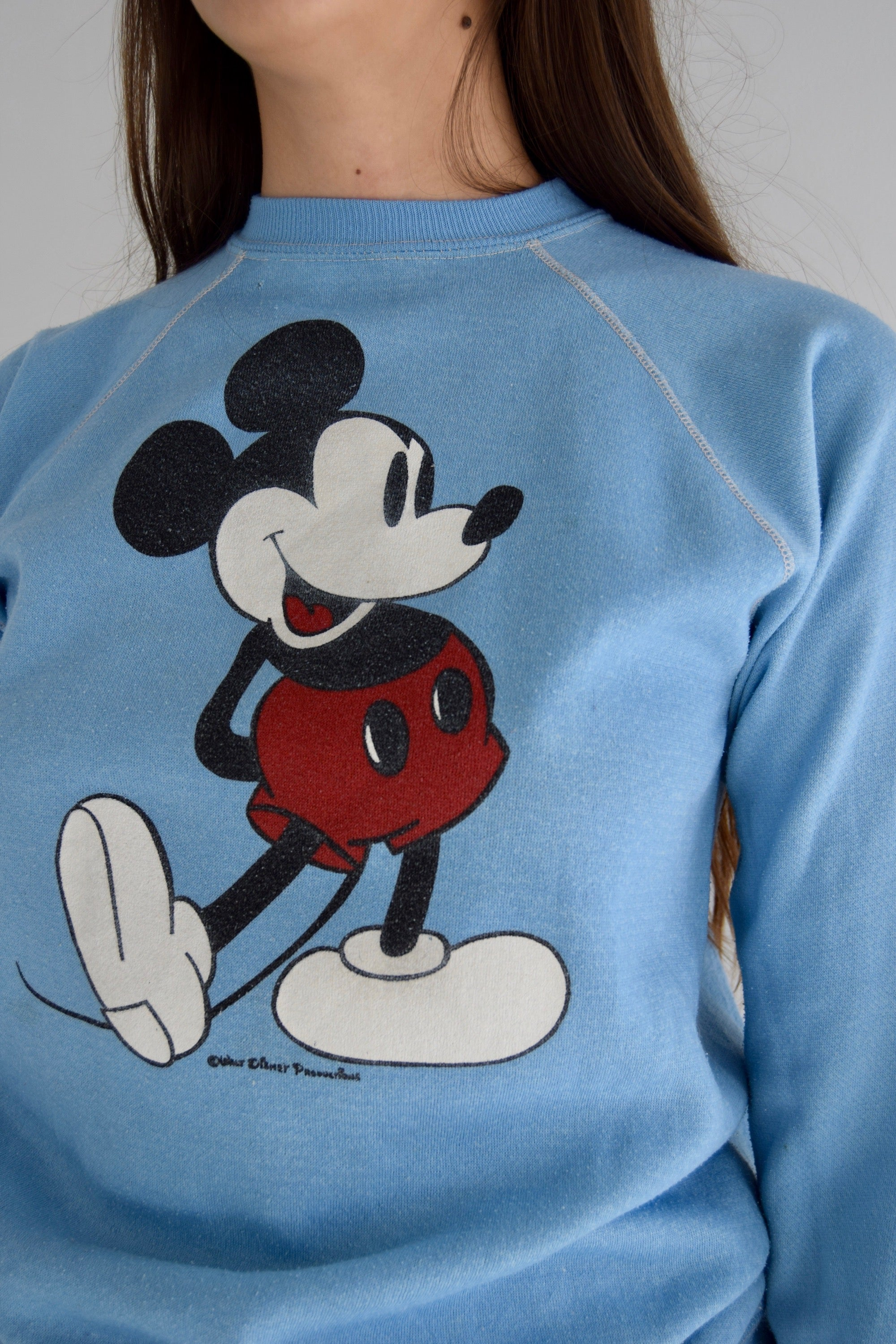 Vintage Mickey Mouse Powder Blue Crew Neck Sweatshirt FREE SHIPPING TO THE U.S.