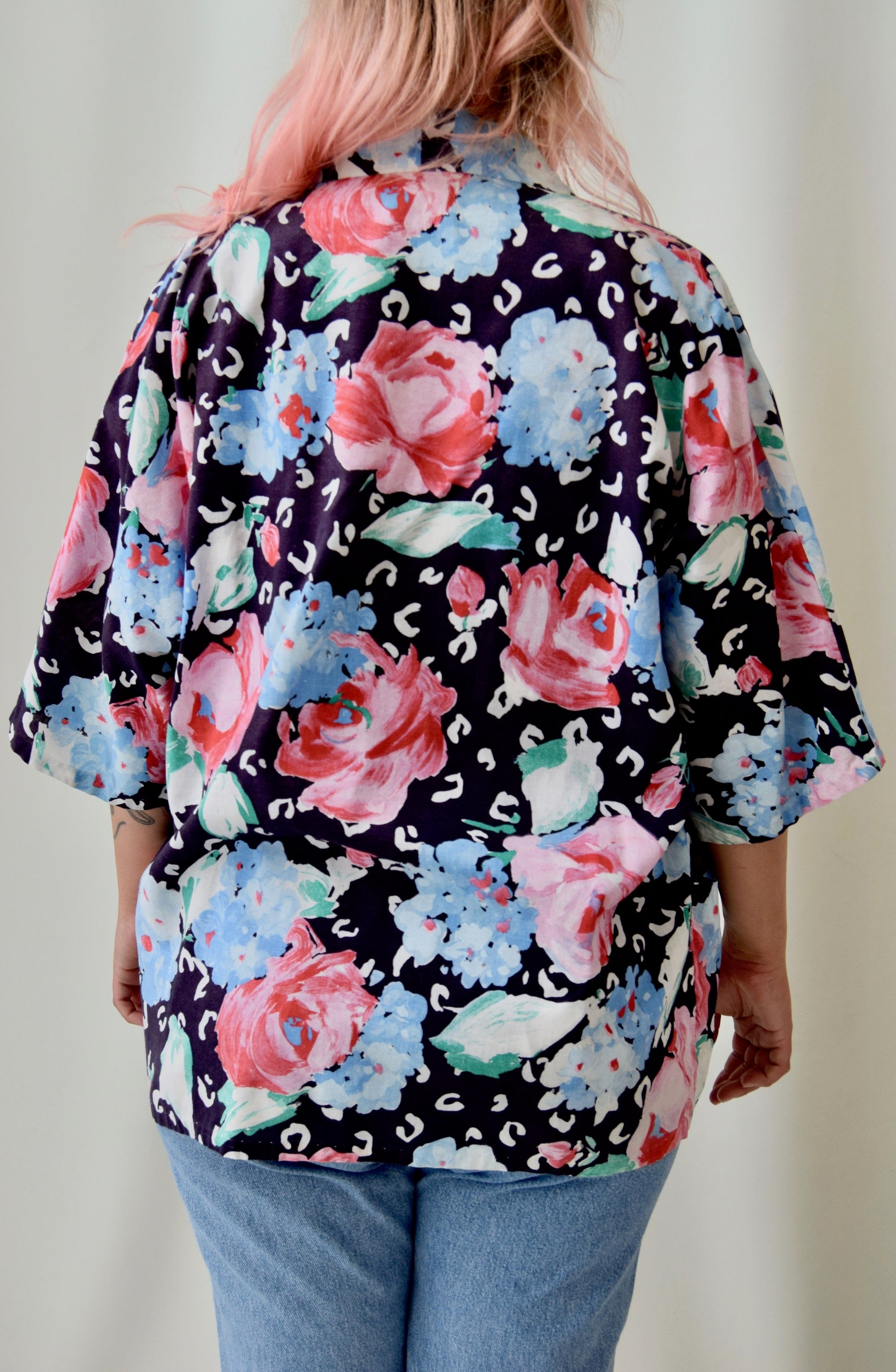 80's Cotton Rose Robe