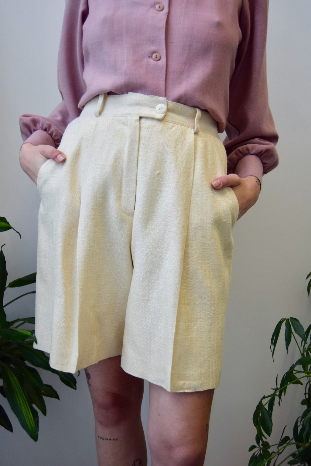 Ivory Raw Silk Trouser Shorts