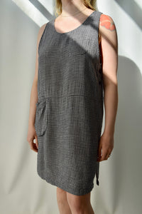Black and White Gingham Linen Blend Tank Dress FREE SHIPPING TO THE U.S.
