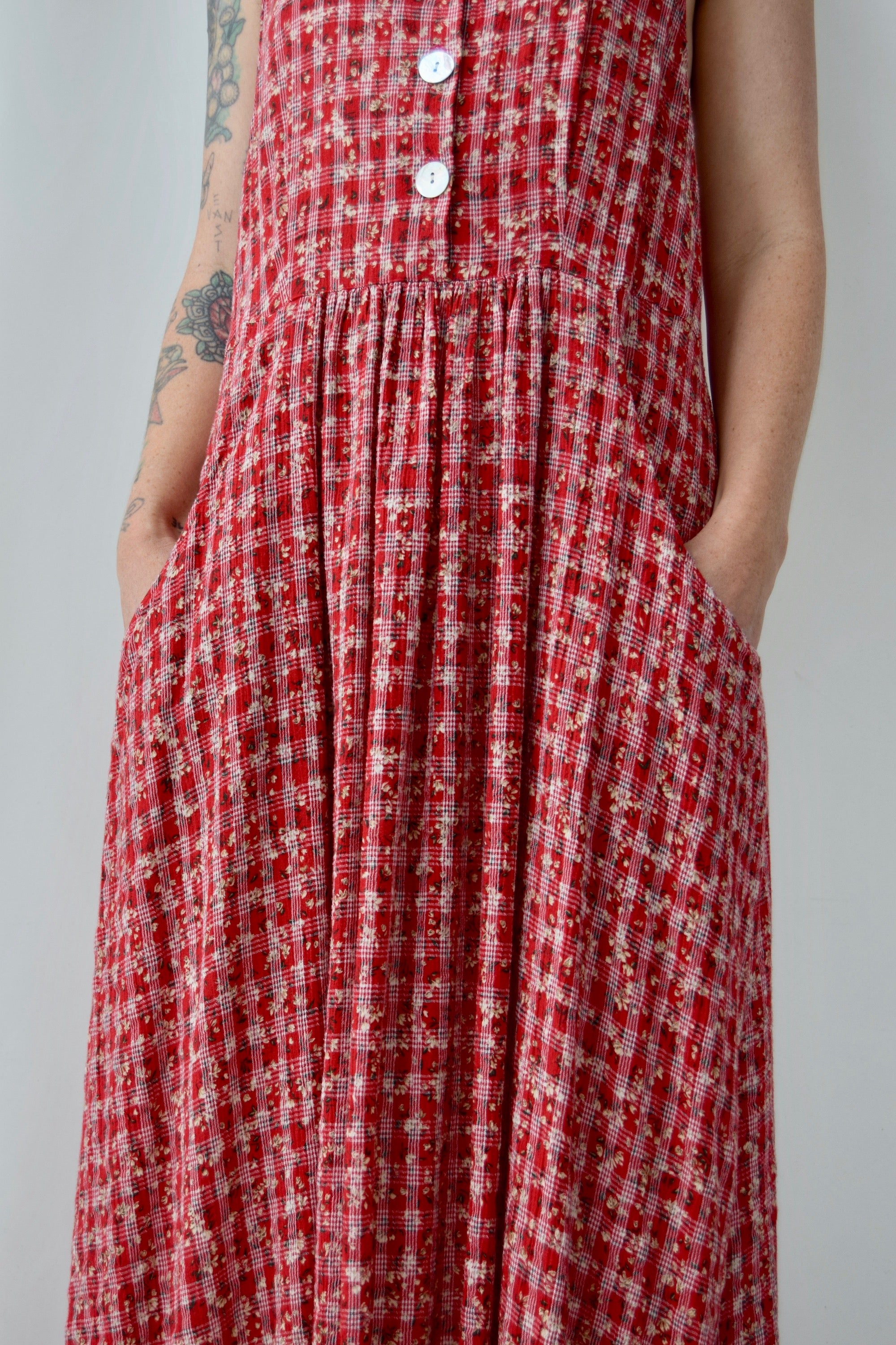 Cherry Red Floral Picnic Dress