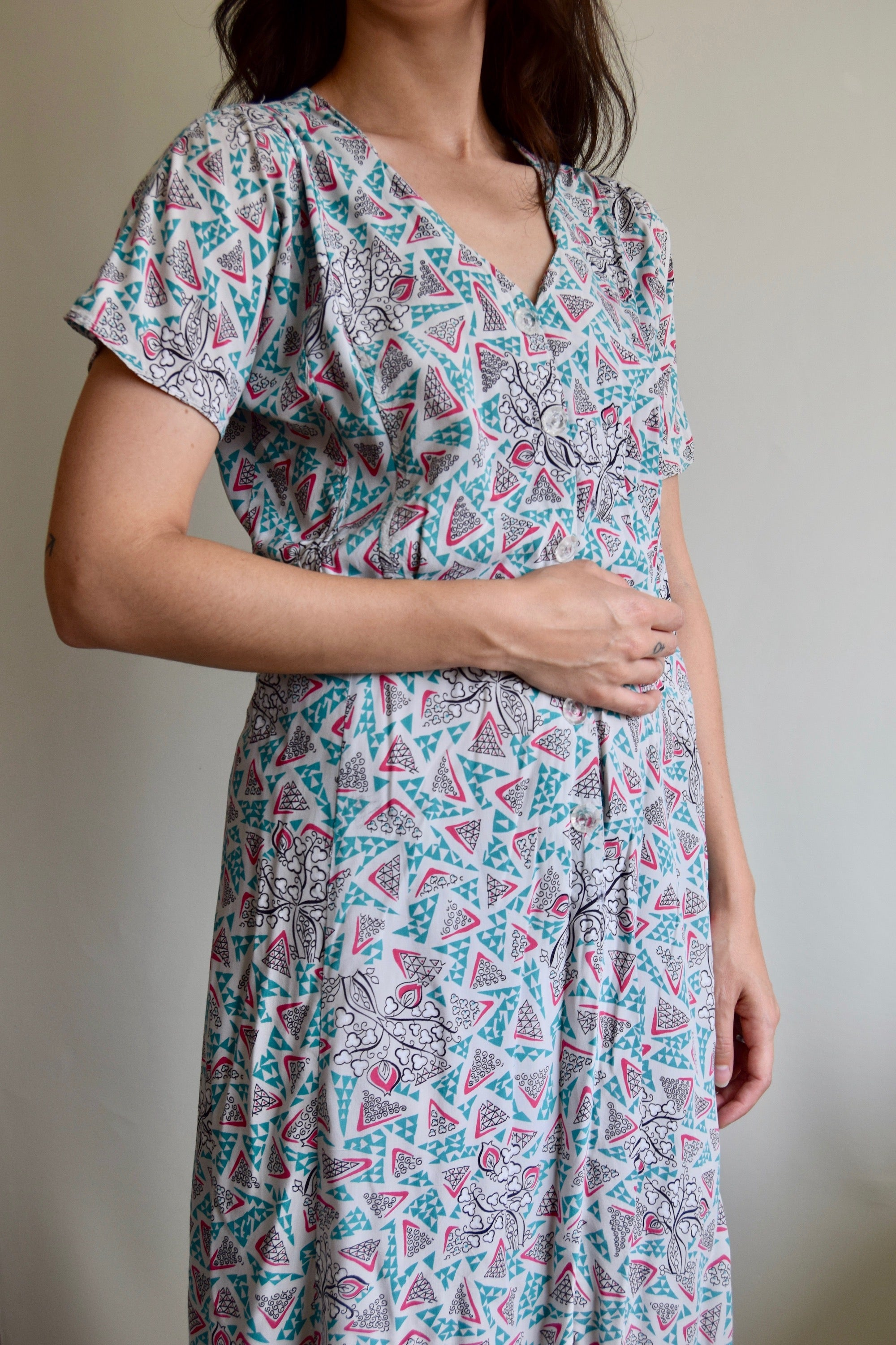 Vintage 1940's Dusted Pastel Abstract Floral Dress FREE SHIPPING TO THE U.S.