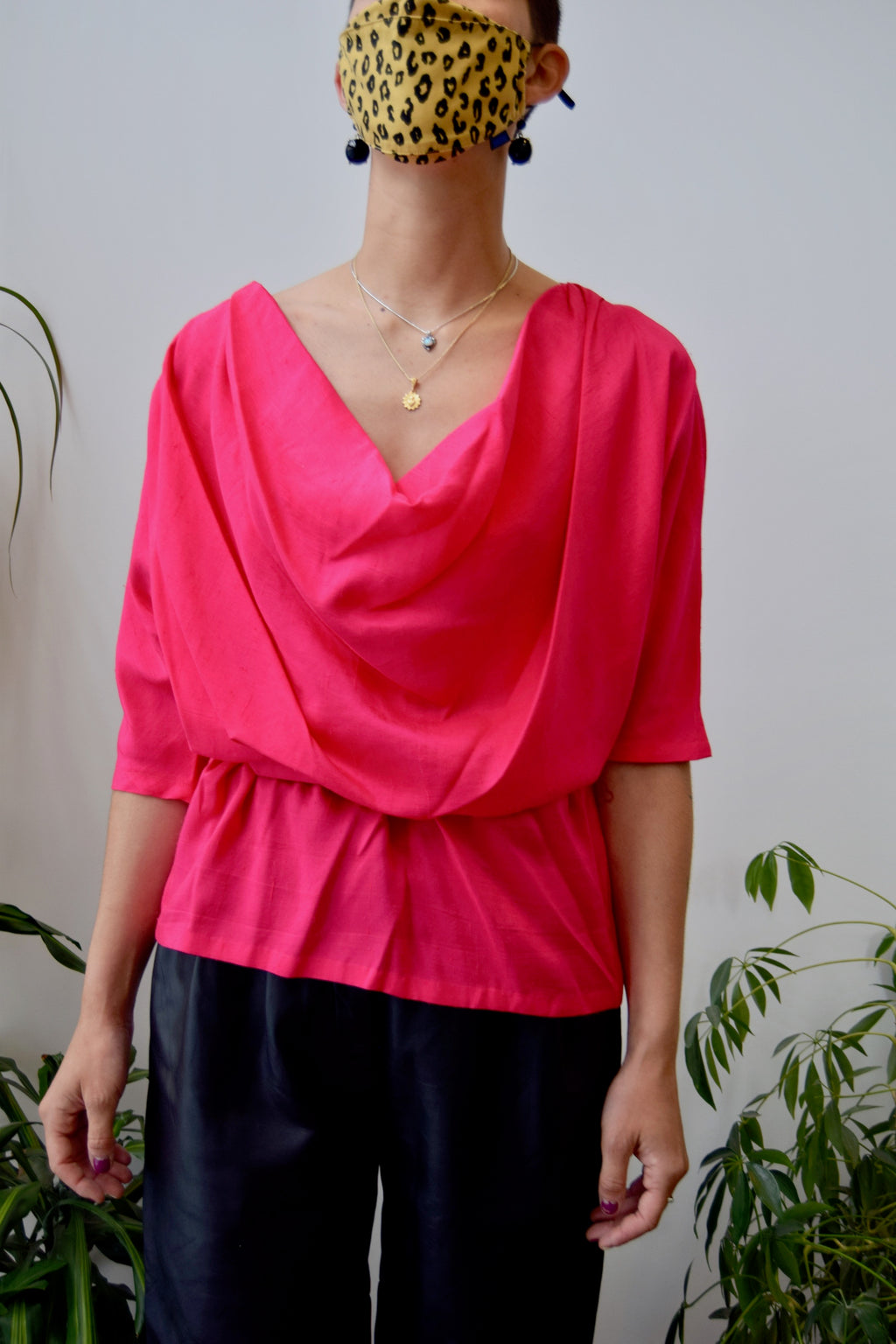 Flamingo Silk Belted Blouse