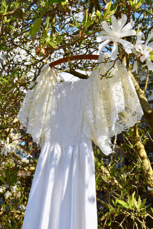 "1970's Lace Handkerchief Sleeve ""Bridal"" Dress"