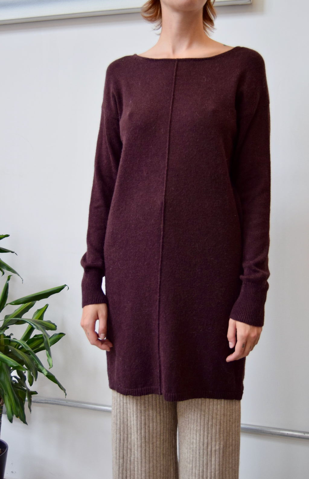 Plum Alpaca Blend Sweater Dress