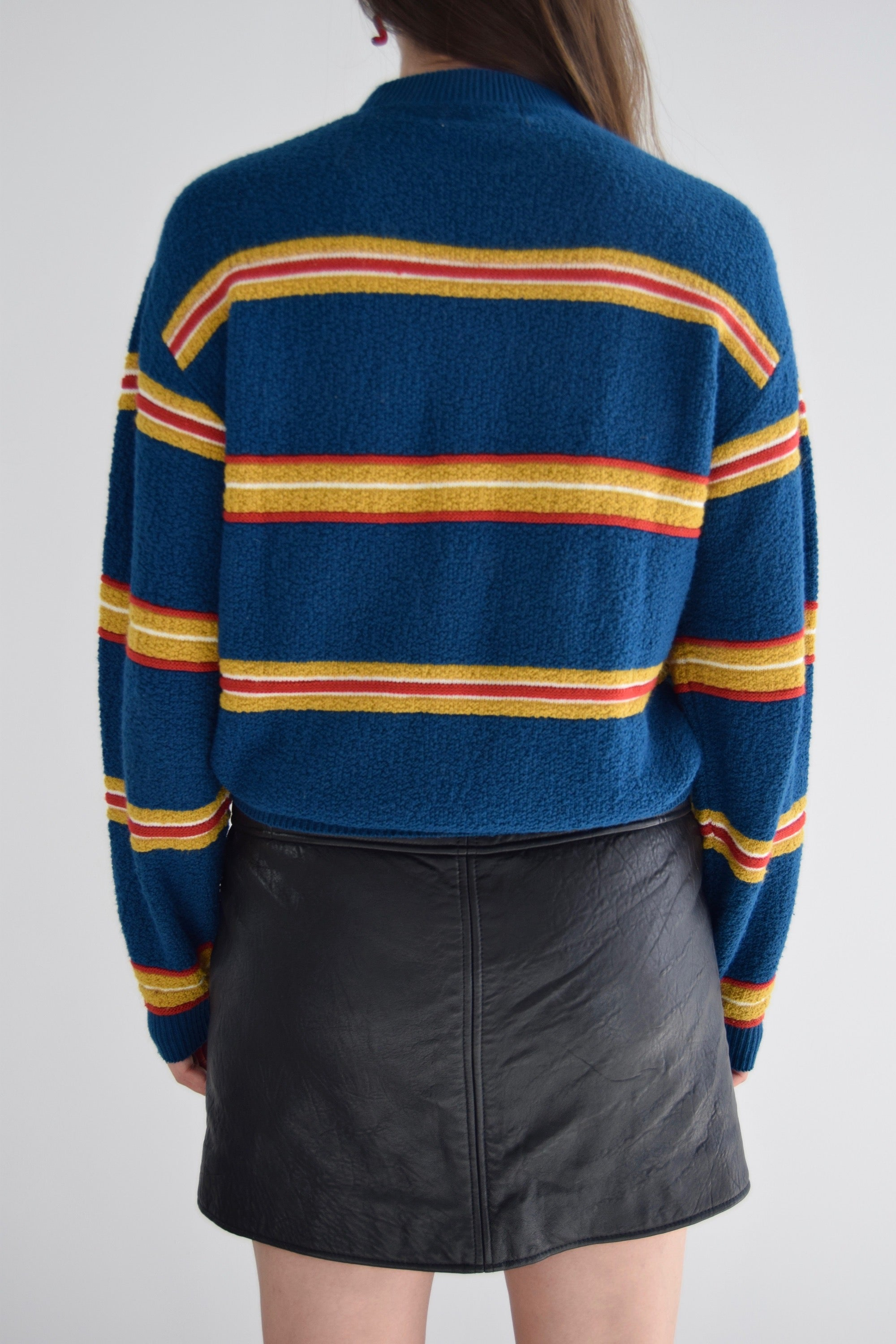 Vintage Primary Colour Horizontal Striped Sweater