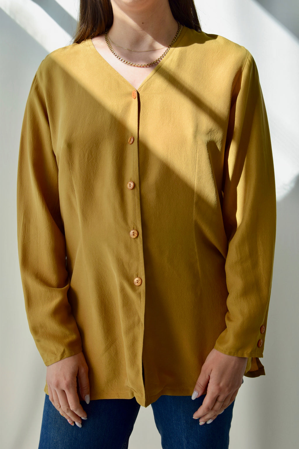 Mustard Silk Blouse FREE SHIPPING TO THE U.S.