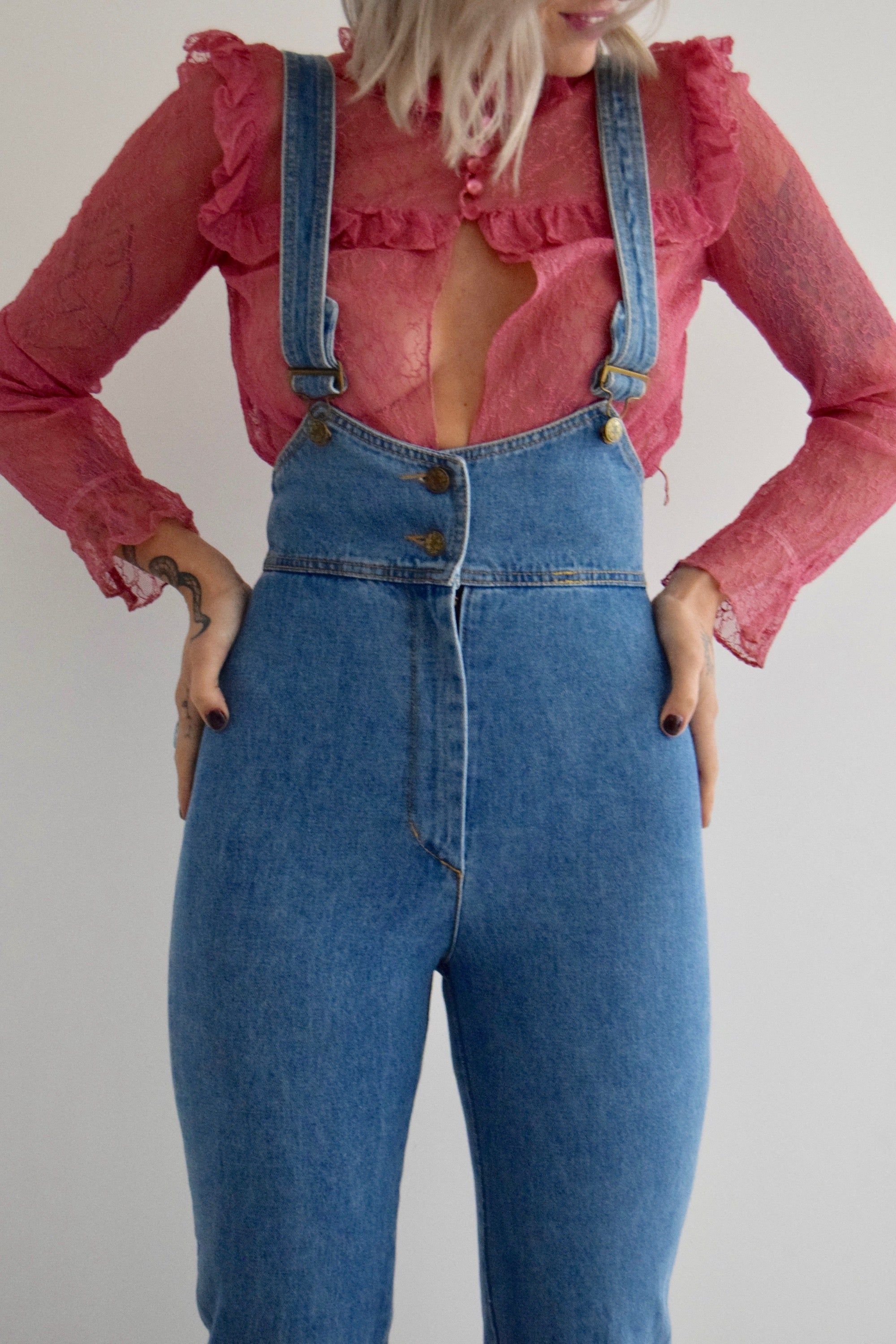 Vintage Frederick's of Hollywood High Waisted Denim Overalls