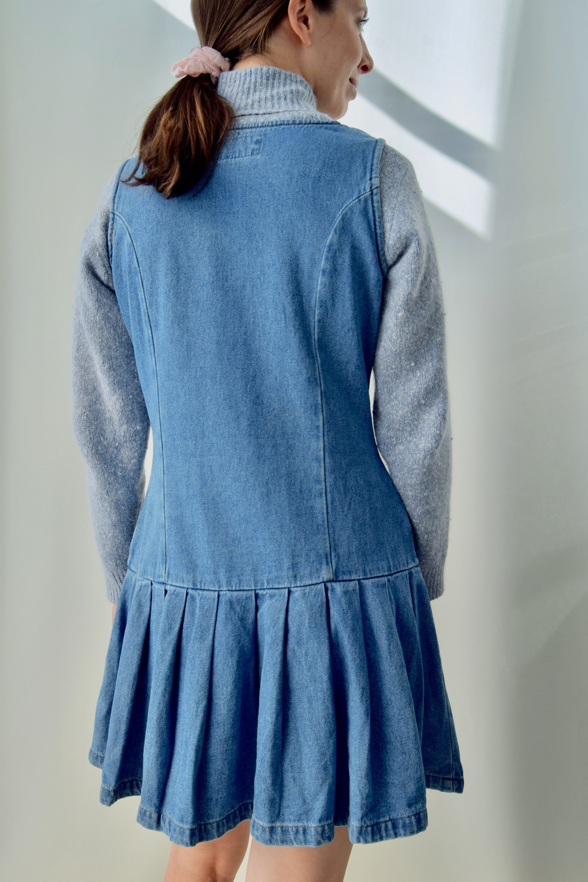 Denim Drop Pleated Waist Dress