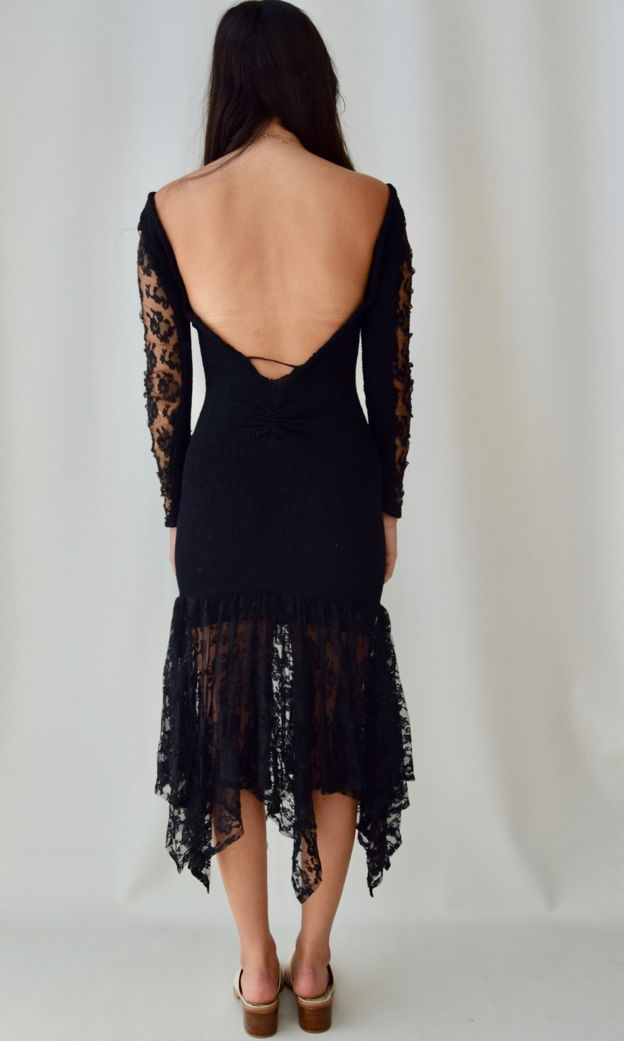 90's Black Flamenco Lace Dress