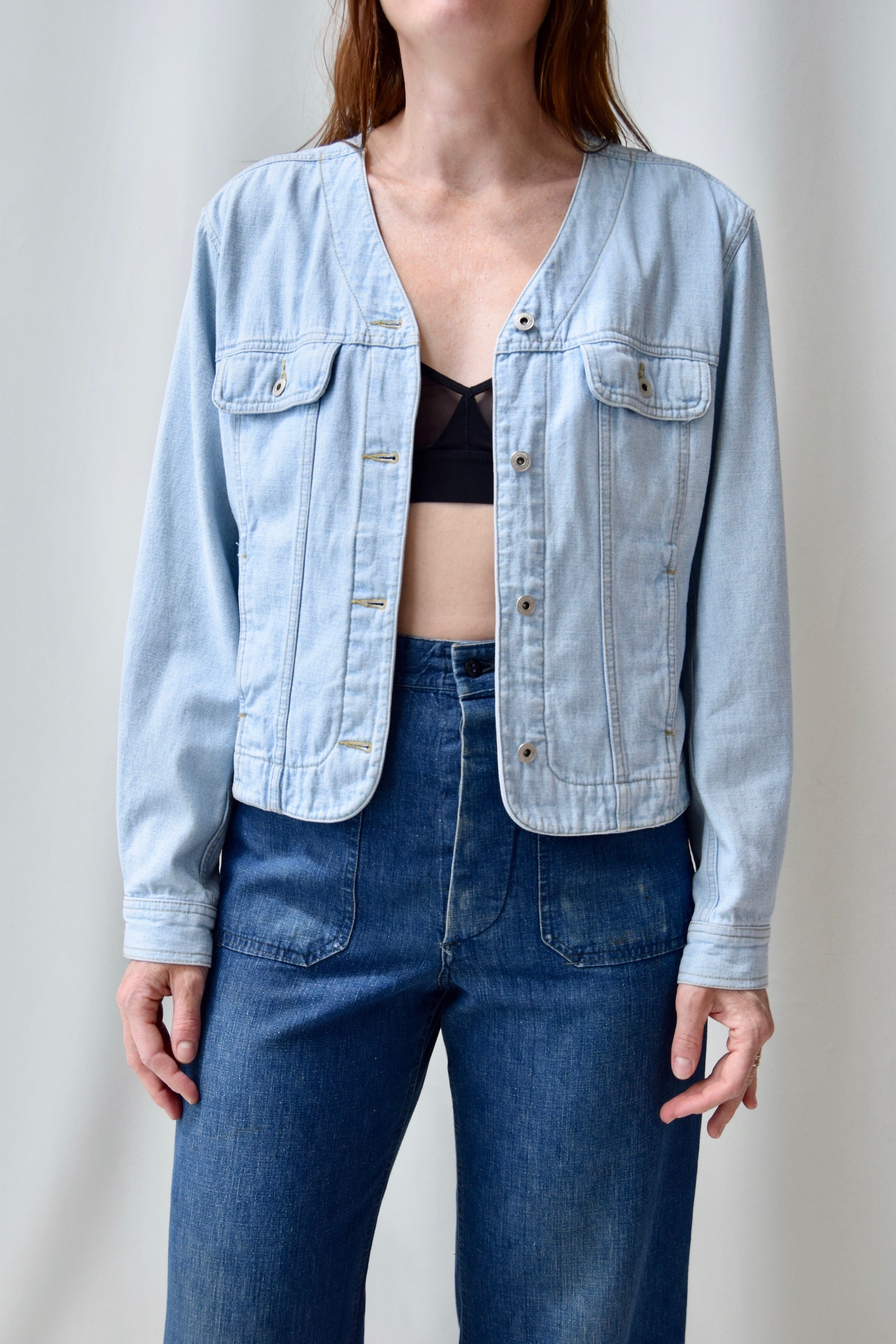 Collarless Light Wash Denim Jacket