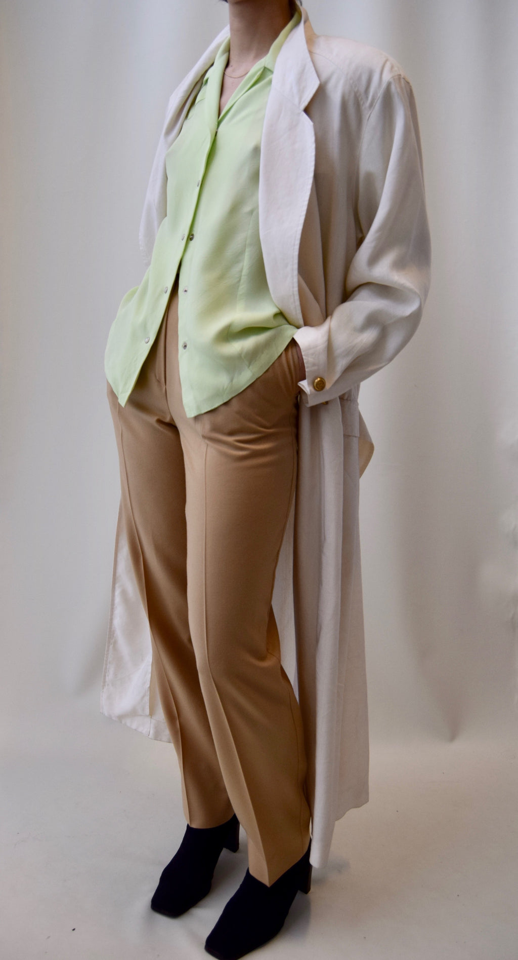 80s Tahari Linen Blend Bone White Tailored Trench Jacket