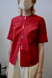 Vintage Crimson Red Blouse