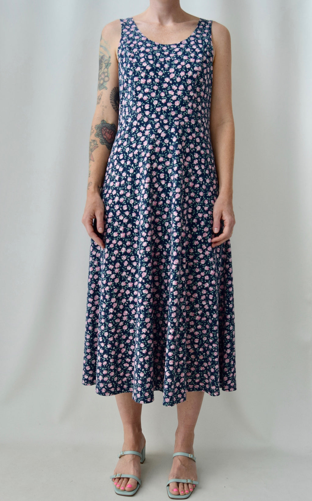 "90's ""Champagne West"" Navy Floral Dress"