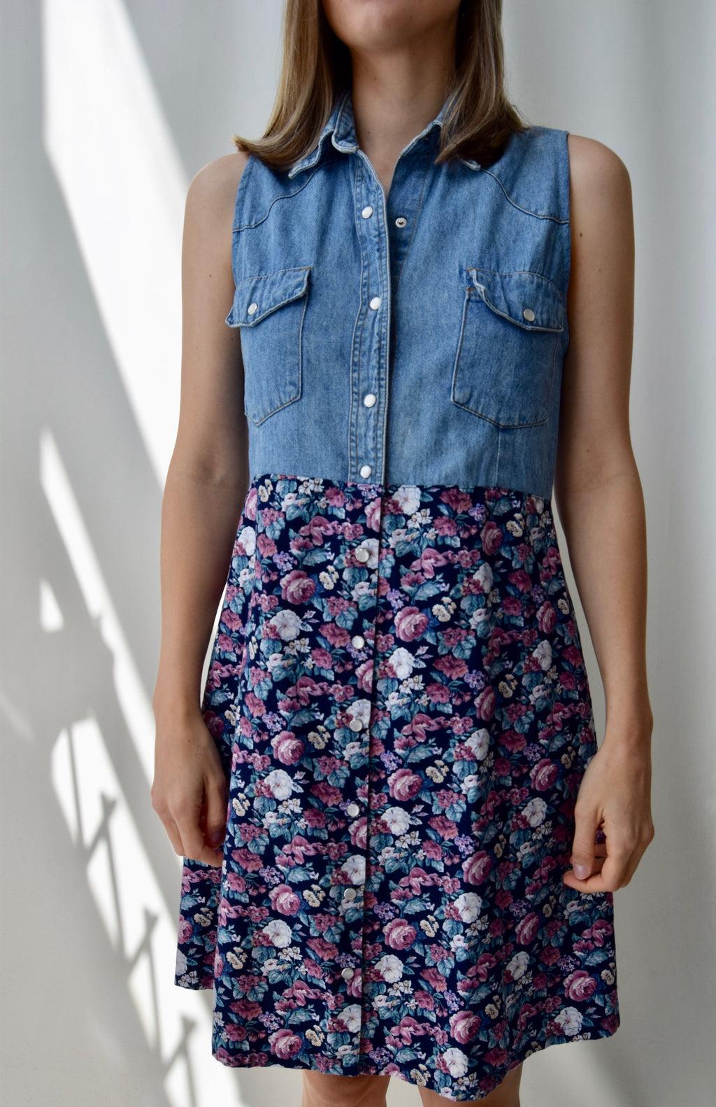 90's Denim Floral Dress