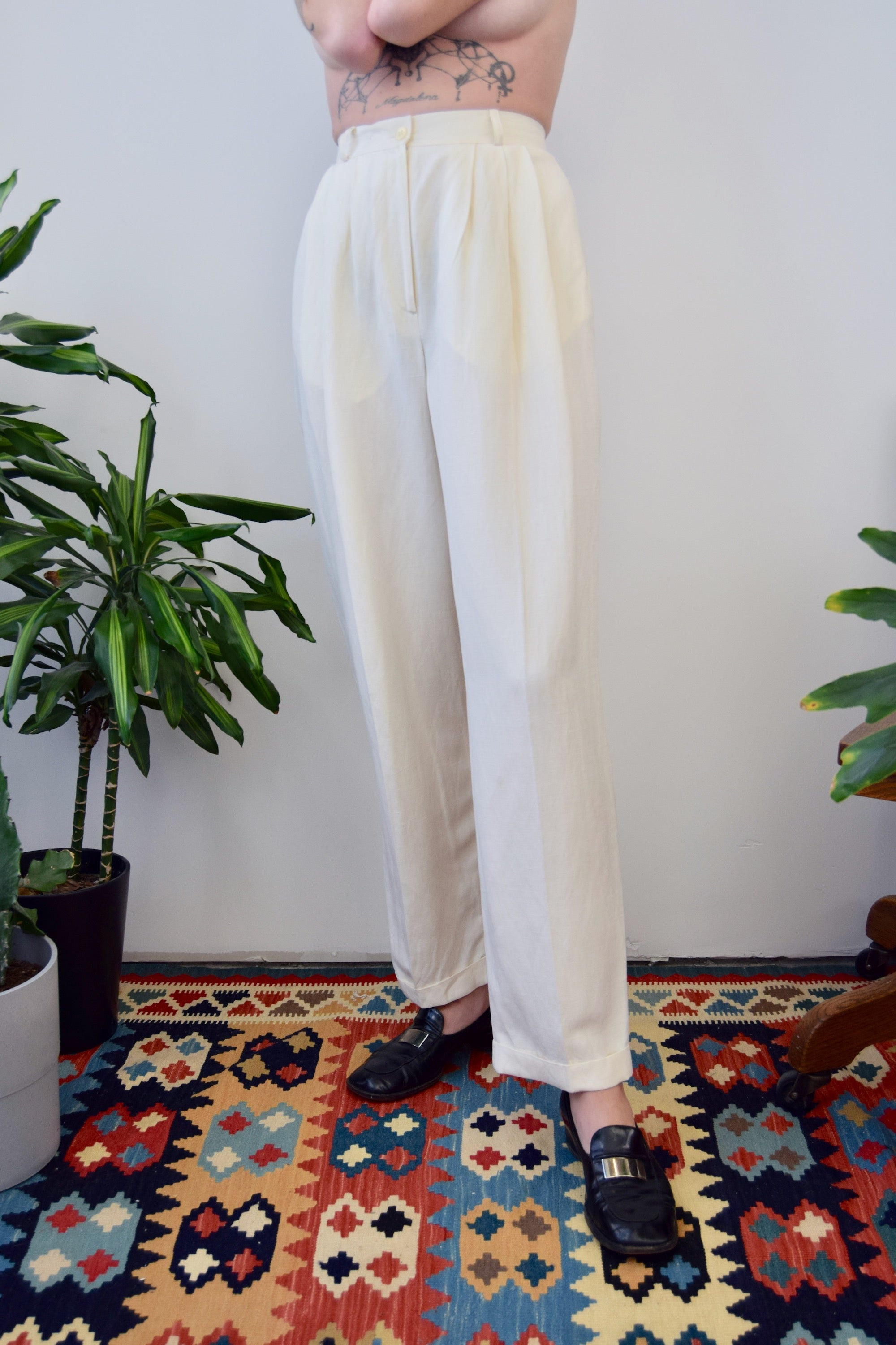 Silk & Linen Cream Pants