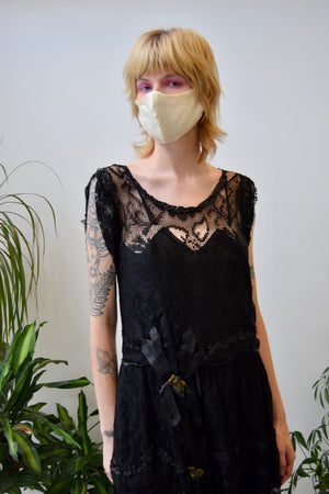 Antique Black Lace Net Dress