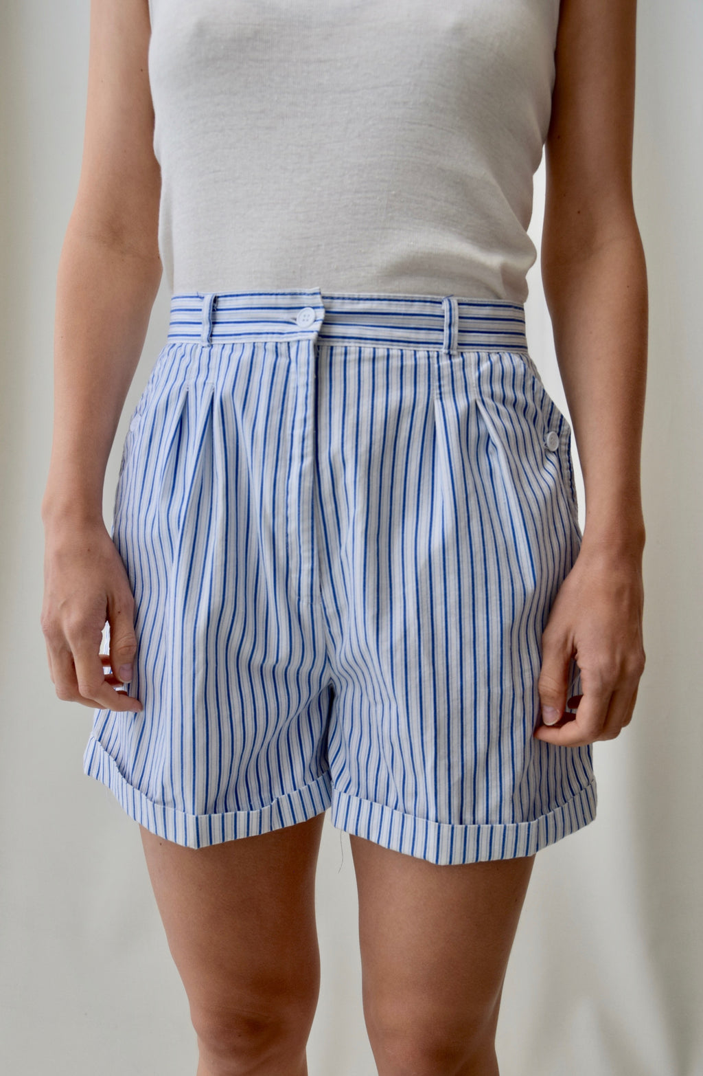 Cotton Striped Trouser Shorts