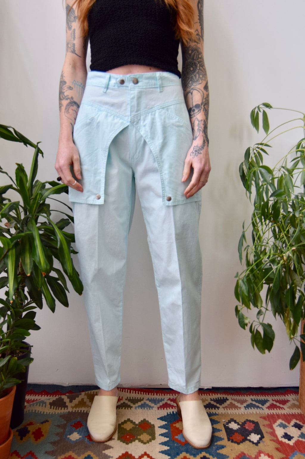 Icy Blue Cotton Pocket Trousers