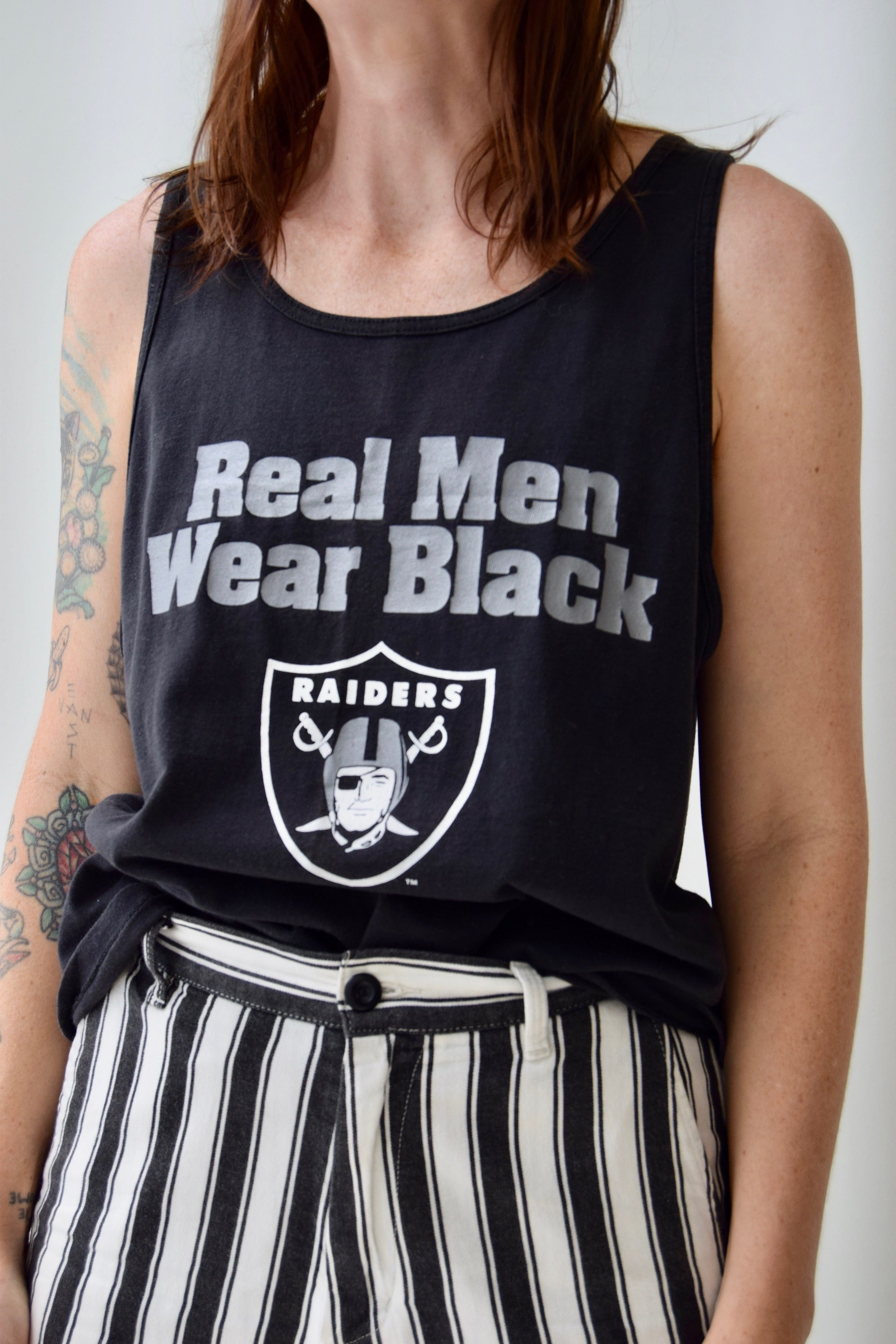 "Vintage Raiders ""Real Men Wear Black"" Tank"