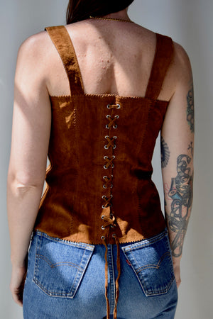 Lace Up Suede Bustier