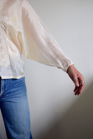 Vintage Silk and Lace Pearl Blouse