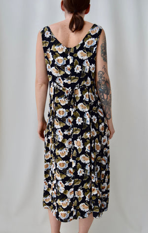Black Rayon Floral Dress