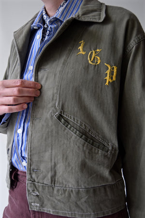 Vintage 1940's WWII HBT Jacket with LGP Embroidery