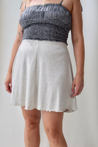 90's Heather Grey Ribbed Skater Skirt