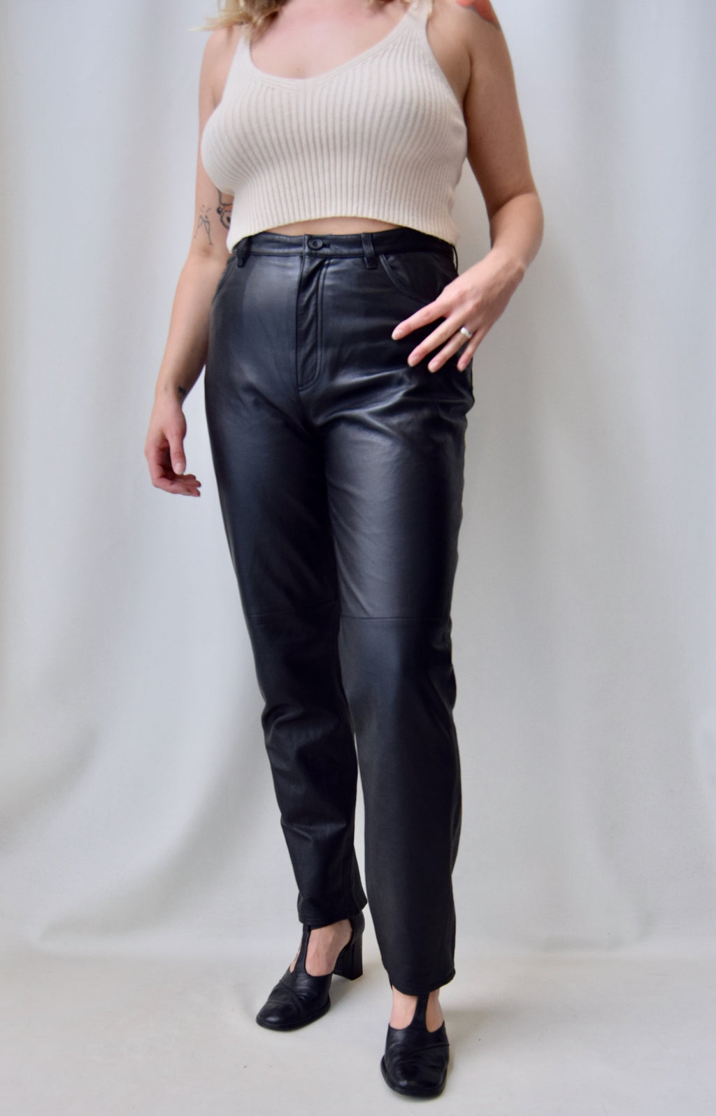 Nineties Soft Black Leather Pants