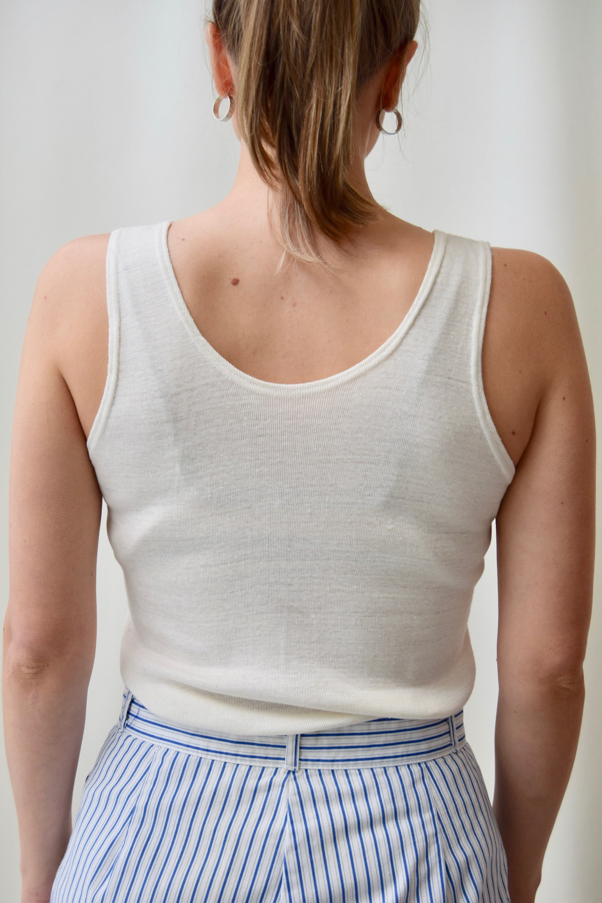 Vintage White Ribbed Tank