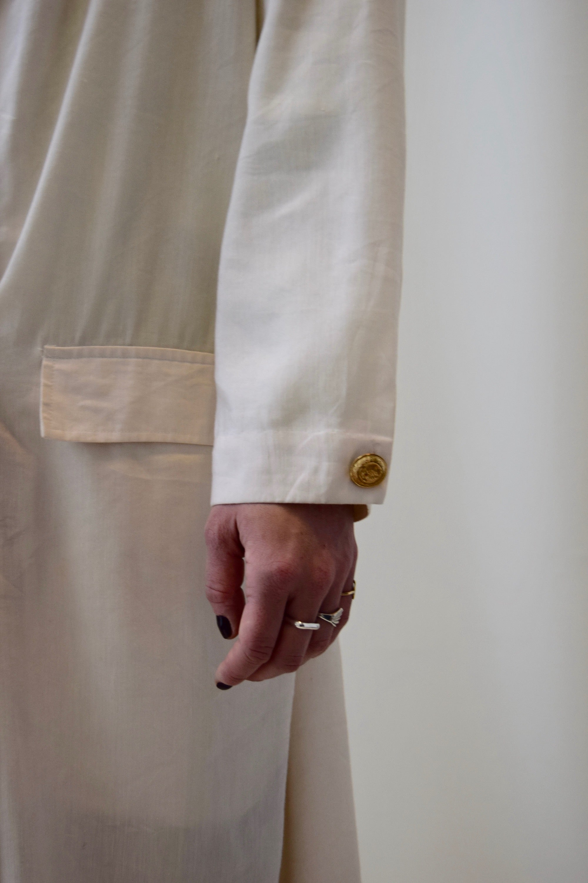 80s Tahari Linen Blend Winter White Tailored Trench Jacket