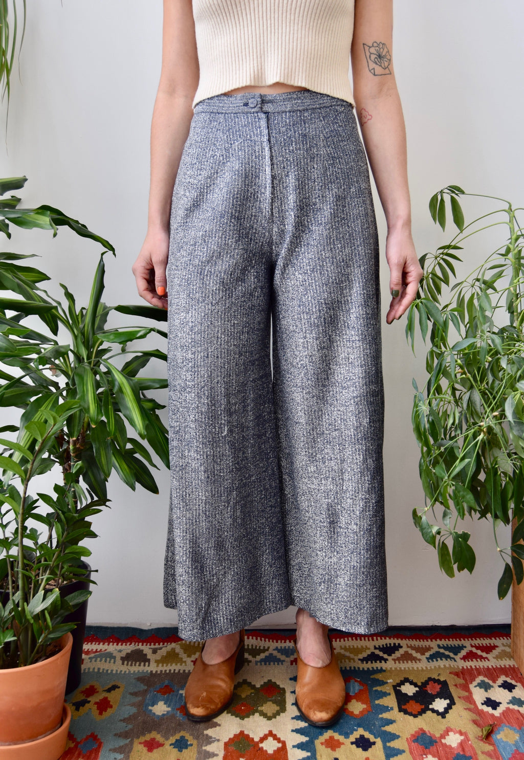 Seventies Wide Leg Tinsel Trousers