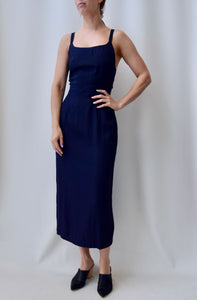 Navy Cross Back Jumper Dress