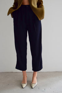 Navy Blue Cropped Trousers